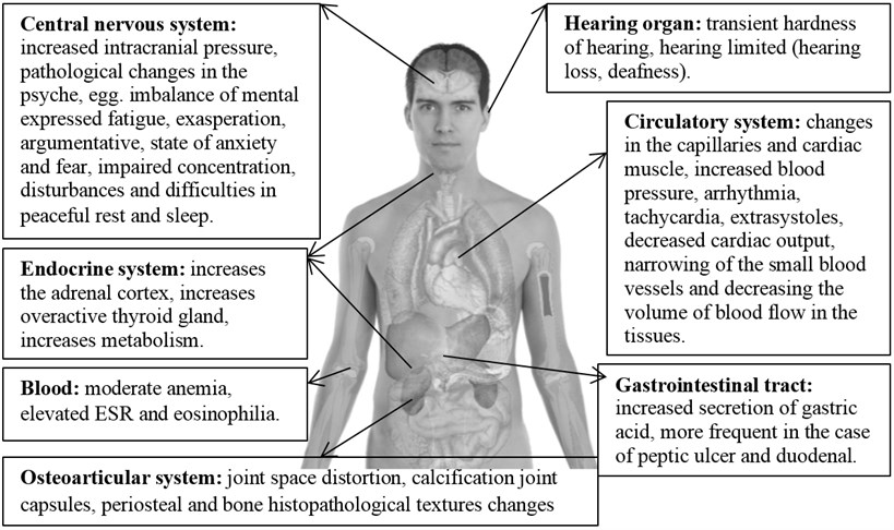 Physiological and psychological impact of vibration and infrasonic noise on human body.  Source: own elaboration, image from http://www.clker.com