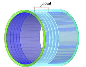 Mesh distribution for the short labyrinth seal
