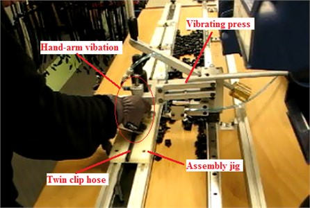 Assembly with vibrating press