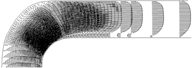 The velocity field in the curved section of the pipe