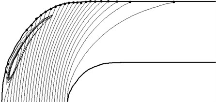 The trajectories of particles with a diameter of 300 microns