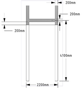 Reinforced concrete corridor: a) perspective view,  b) floor plan and sensor placement, c) front view, d) side view