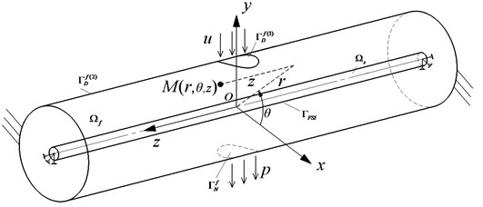 The fluid-structure coupling mechanics model of flexible pipe in cylinder fluid domain