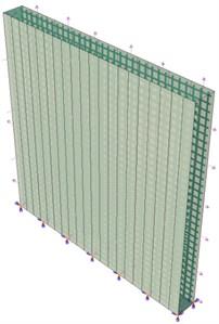 "View of models: a) ""RC-wall"", b) ""R-V-CFRP"", c) ""Intern-comp"""
