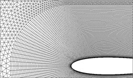a) The overset grid setup of the plunging NACA0014 airfoil  and the near views of the three different resolution in Table 1 (Mesh A to C)