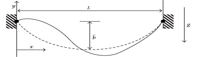 A schematic diagram of a shallow suspended cable