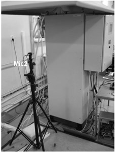 View of the device under test with location of microphones and 3-axis acceleration sensors