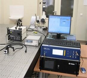 a) Prototype piezoelectric mirror and b) experimental setup