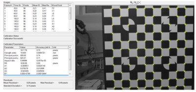 Vision system calibration results: a) internal camera calibration results,  b) length standard used for scale factor calculation