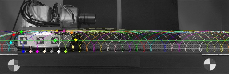 Trajectory motion of crawler track lugs calculated by the developed vision system