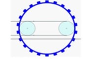 Stages of Crawler belt tension, a) primary, b) intermediate, c) the final shape crawler belt