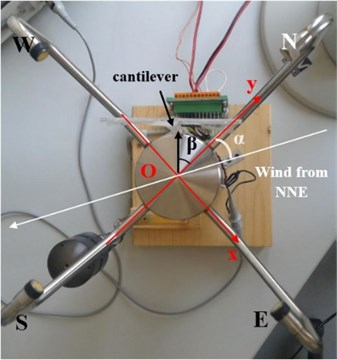 Cantilever on anemometer and wind direction