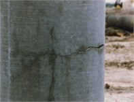 The typical damage types in concrete piles: a) fractured pile, b) cracked pile,  c) pile with secondary concrete pouring, d) pile with mud intrusion