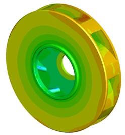 Contour of pressure distribution of the centrifugal pump