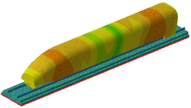 Sound pressure contours on the high-speed transportation surface under the wheel-rail force