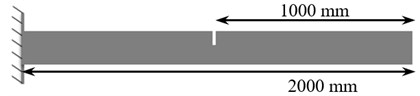 A sample of support condition and crack location in the considered beam