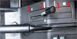 Vibration test of Citroen BX 14 TGE and manual controller of vehicle clearance:  1 – low position, 2 – normal position, 3 – hard position, 4 – service position