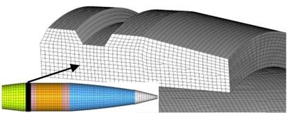 Mesh of finite element model