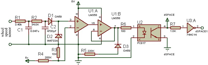 Wheel speed sensor signal conditioning circuit