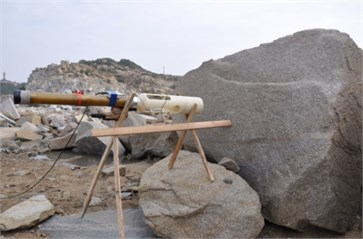 Diagram and site map on set mode of blasting boulder with TSCW and measuring point setting