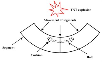Schematic diagram of joint area closest to explosive
