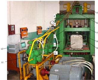 a) Experimental principle, b) experimental system: 1 – rack, 2 – lifting beam, 3 – lifting device,  4 – hydraulic cylinder, 5 – Motor, 6 – shock transmission device, 7 – shock rod, 8 – sensor,  9 – cutting tool, 10 – rock, 11 – hydraulic valve, 12 – display device