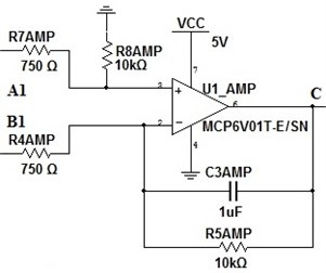 Amplification stage of instrumental amplifier