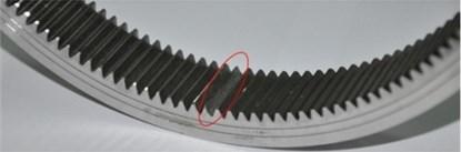 Seeded wear failure of every gear: a) sun gear; b) planet gear; c) ring gear