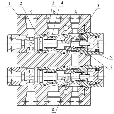 Structure of a large-flow pilot operated check valve: 1. Valve body, 2. Control piston, 3. Valve seat, 4. Control piston return spring, 5. Valve sleeve, 6. Poppet return spring, 7. Pilot poppet, 8. Main Poppet