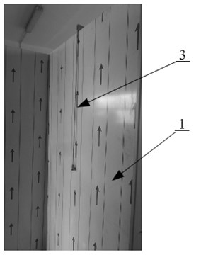 Measurements test bench a) the back side of the wall b) the front side of the wall  1 – panel construction, 2 – sonometer, 3 – a metal impactor