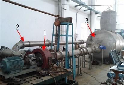 Experimental setup: 1 – mixed-flow pump,  2 – test line, 3 – surge tank