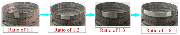 Different sizes of CLD coated along the circumferential and the axis direction of the shell