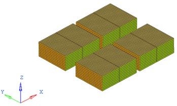 FEA model of the battery pack and its inner battery sets
