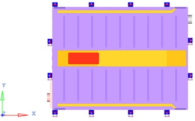 Boundary condition of battery pack FEA model