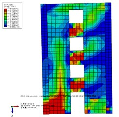 Stress nephogram of SCSW2-I and coupled shear wall model with concealed integral SPs