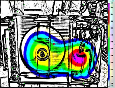 Contour of sound pressure  for the unit shot by acoustic camera