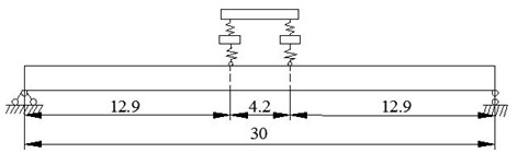Intact box-girder bridge with vehicle (unit: m)