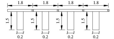 Simply supported bridge for numerical simulation (unit: m)