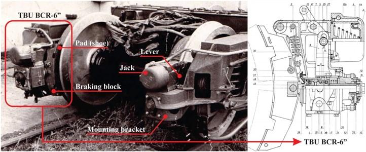 "Tread brake unit BCR-6"" mechanism"