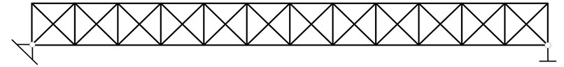 a) Truss structure, b) node number, the external forces and sensors placement