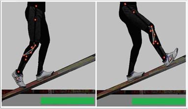 Start and end of twenty  deg. ramp ascent motion