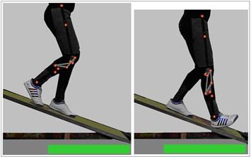 Start and the end of fifteen  deg. ramp descent motion
