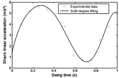 Linear acceleration of the  shank during stairs descent