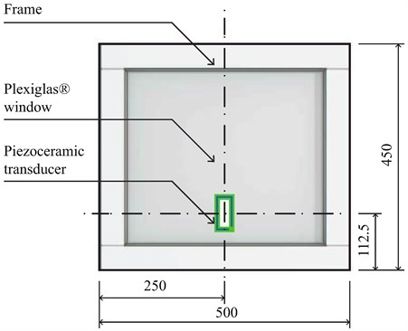 Model of a windowpane under surveillance with a piezoceramic transducer mounted on its surface