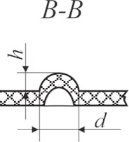 Schematic views of the investigated samples: a) Braille view from top: d – dot diameter;  b) side view of Braille formed using screen printing on polymeric material (A–A): h – Braille dot height,  d – Braille element width; c) Braille embossed on polymer; d) profile of Braille element (B–B):  h – Braille element height, d – Braille element width