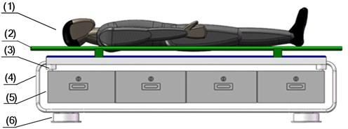 The structure optimization scheme 1: (1) supine human body, (2) stretcher,  (3) spring and damper, (4) steel frame, (5) storage box, (6) zero stiffness shock absorbers
