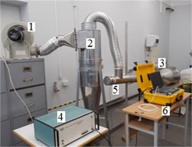 Experimental setup: 1 – fan, 2 – cyclone, 3 – chamber, 4 – amplifier,  5 – sound generator, 6 – Toolbox Type PULSE 3560 – B