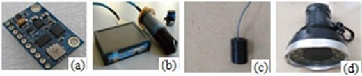 The sensors of BYSQ-3: a) GY-80 nine-axis digital gyroscope,  b) micronav navigation system, c) ultrasonic displacement sens, d) underwater camera
