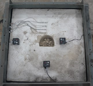 Three cemented sand model after single-hole blasting experiment