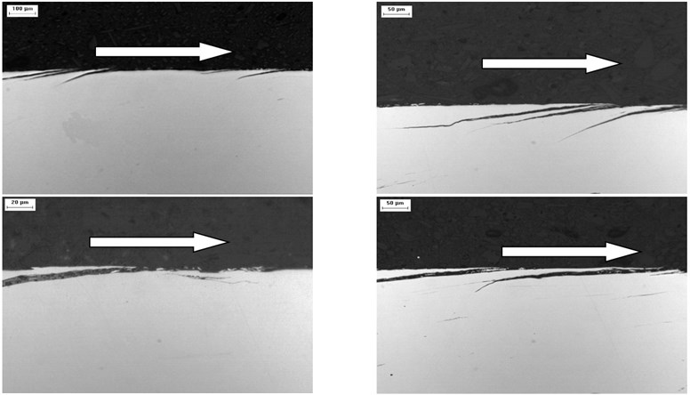 Longitudinal sections: microcracks (K76Φ steel)